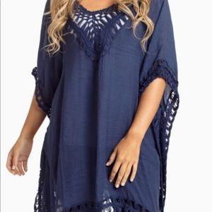 Pinkblush Navy Blue Crochet Maternity Tunic